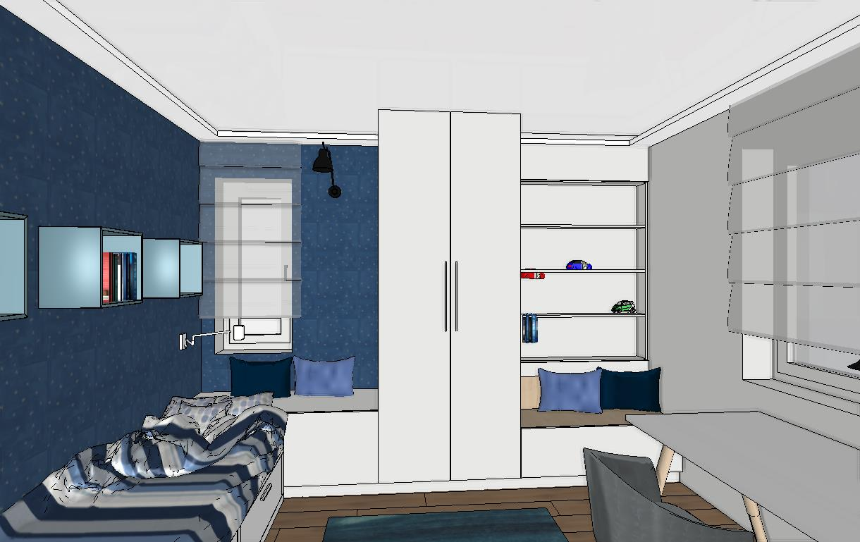 fiúszoba szekrény ágy kék fehér