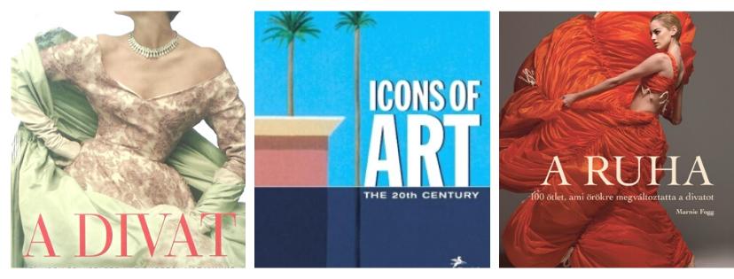 Három színes könyvborító, A divat, Icon of Art és Ruha felirattal