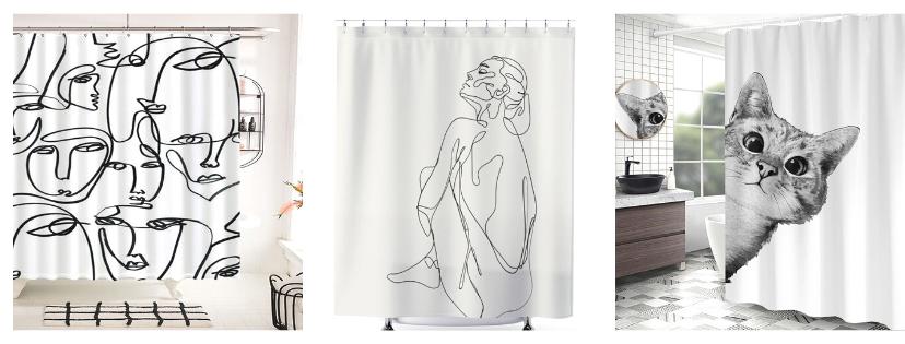 Rajzos, fotós zuhanyfüggönyök nővel, arcokkal, cicával