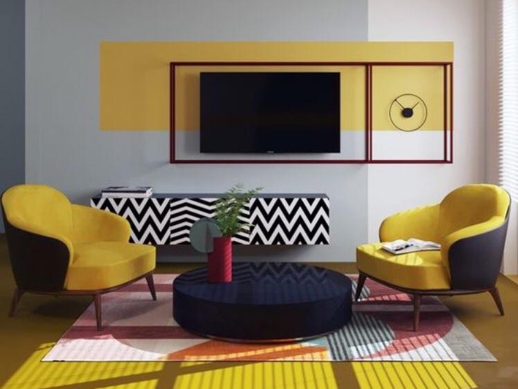 sárga és fekete nappali bútorok