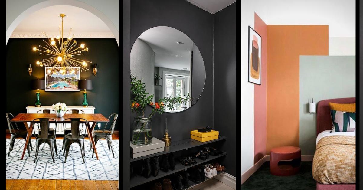 csillár az étkezőben, kerek tükör az előszobában, érdekes színek a hálóban, hármas kollázs