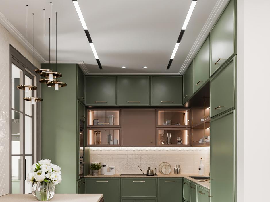 konyha modern zöld barna fehér